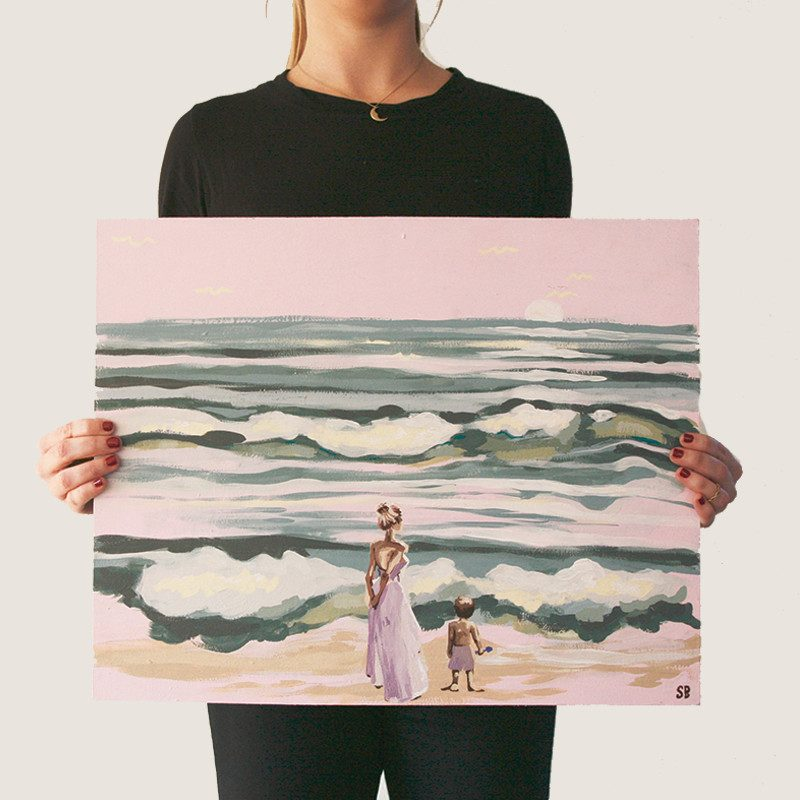 photograph of a woman original abstract painting of a woman in a dress and a little boy in a swimsuit holding a shovel looking at the ocean by artist Sienna Brown