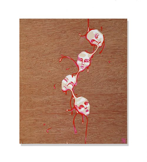 original abstract painting of four attached white pinky faced painted on wood by artist Sienna Brown called wax