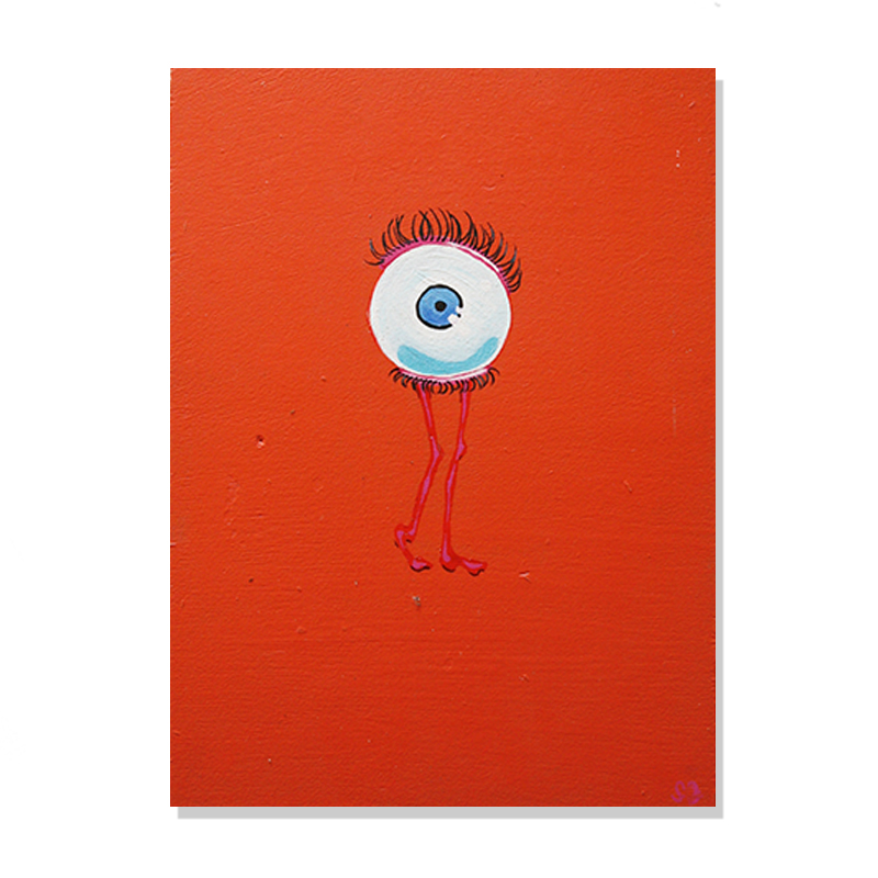 original abstract painting of a eye with long eye lashes and skinny pink legs in a complete flashy orange background called wink by artist Sienna Brown