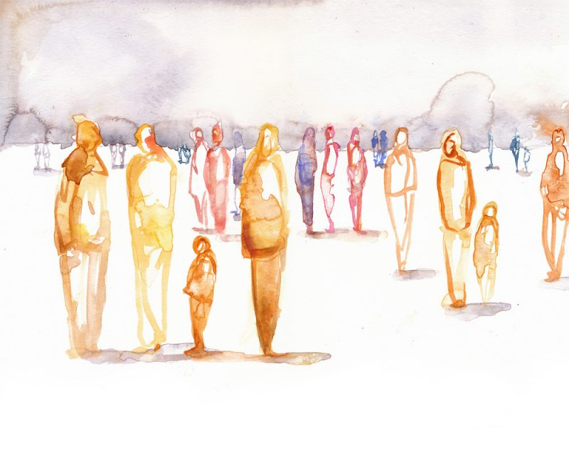 original abstract painting of ransom people painted in different colors standing on a white ground surface called people by artist LOVISA AXELLIE