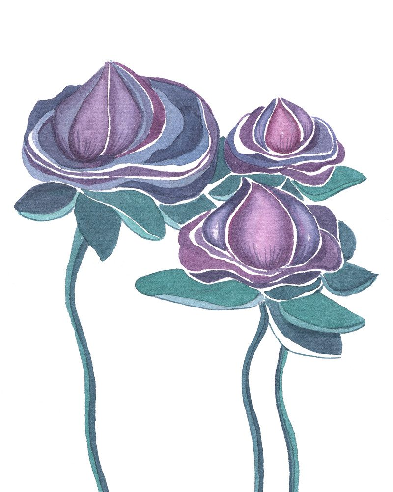 original painting of dark purple flowers in a white background called you said you liked the flowers II by artist Ganna Bazyl