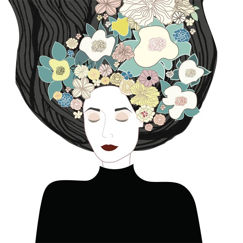 original drawing of a woman laid down with eyes closed hair pulled up and flowers display on top of it called focus by artist Ganna Bazyl