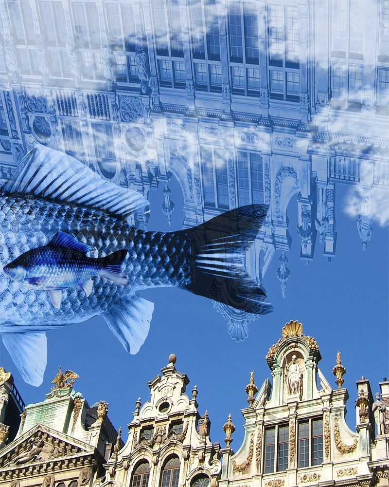 abstract digital art of the reflection of a church in the sky and two fish swimming by called let's add some water by artist Ganna Bazyl