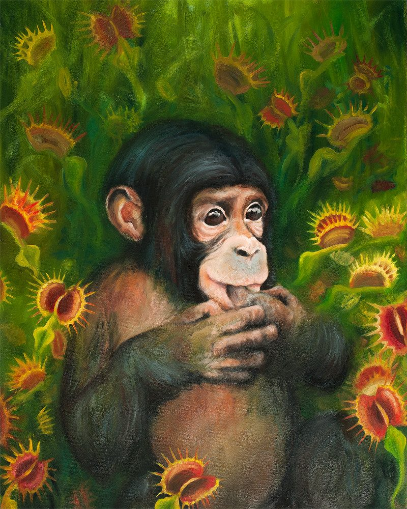 original painting of a baby chimp seated in a field of carnivorous plats surrounded him called a chimp strap by artist BROOKE THIVIERGE