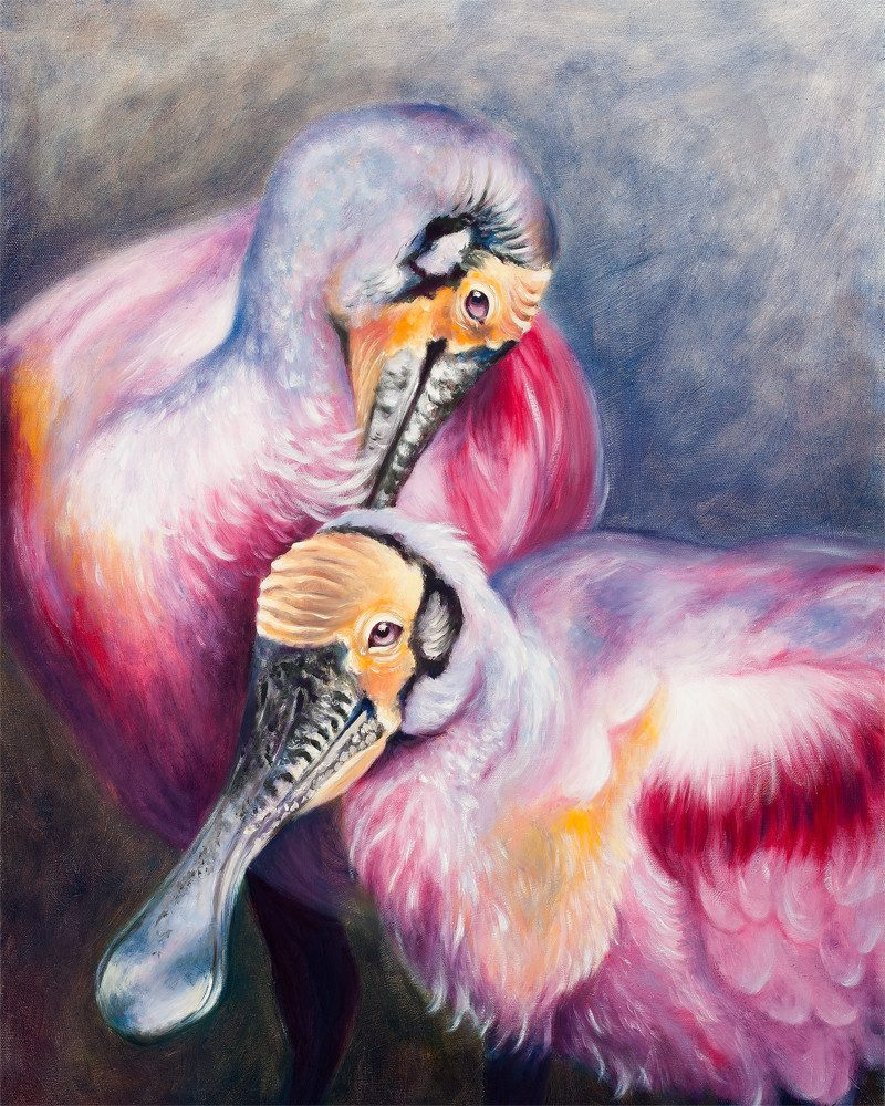 original painting of two Eurasian Spoonbills called roseate spoobills from wunderkid artist BROOKE THIVIERGE