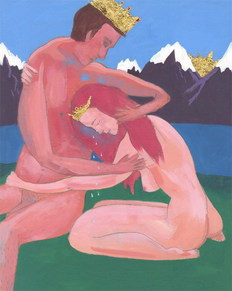 original painting of a naked man and woman wearing crows and hugging as the woman is crying in front of snowed mountains and a lake colled when the princess by Zoey Duong