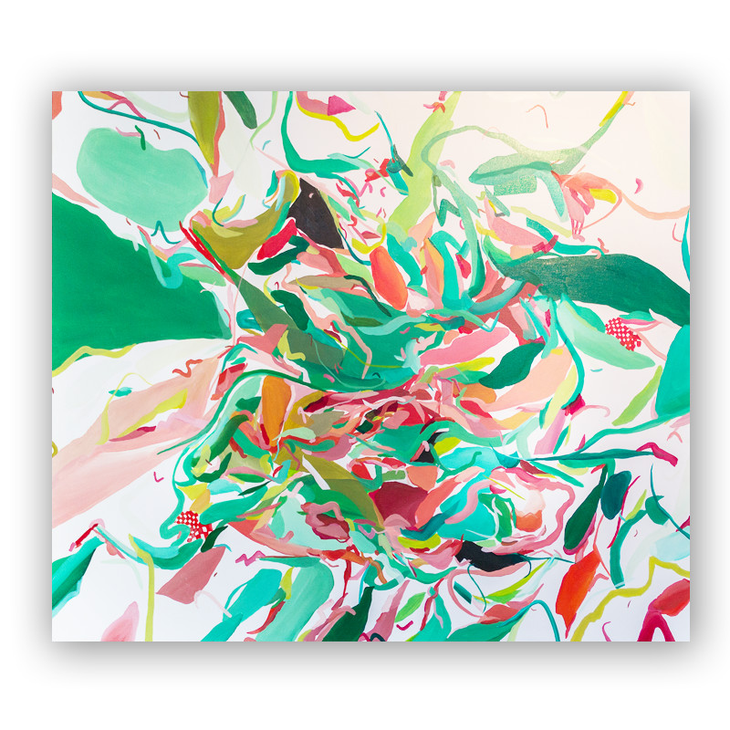 original abstract painting of plants called asleep in your porch plant paradise by artist Katlin Spain