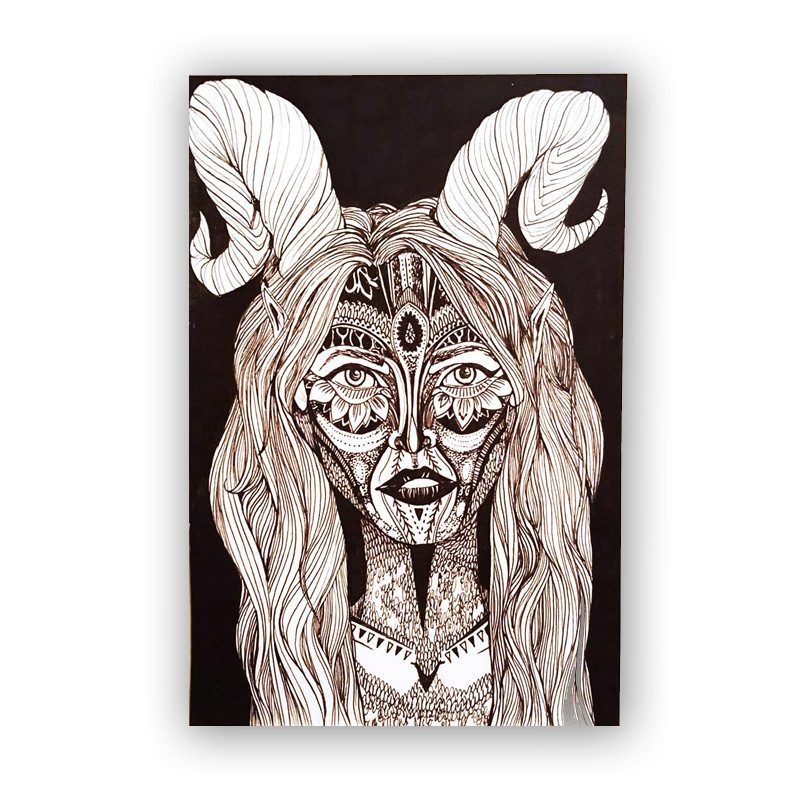 original portrait drawing of a woman with horns called fawn by artist TAMZIN RICHES