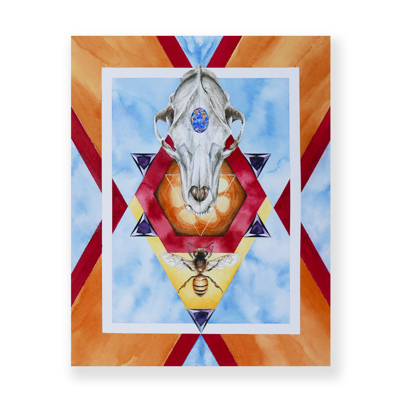 original painting of a bee and bear skeleton facing each other with different colorful elements in background called honey o pal bear by artist Seth Spencer