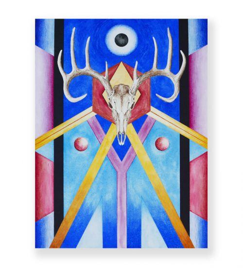 original abstract painting of a deer face with different colorful elements surrounded it called presiding over the river bottoms by artist seth spencer