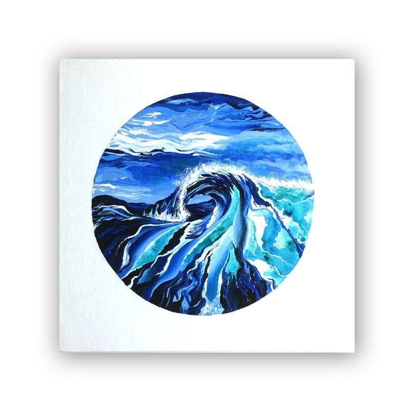 original painting of a giant rolling wave in a stormy weather called surge by artist Theodora Nguyen