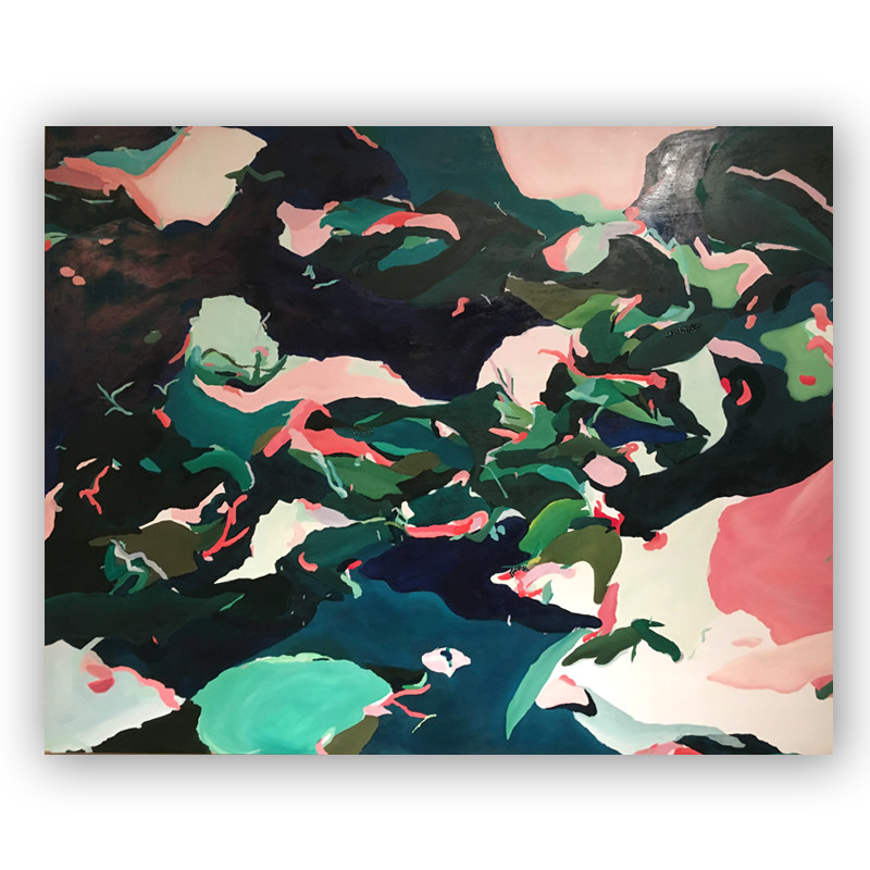 original abstract painting from wunderkid artist KATLIN SPAIN called thursday night lagoons