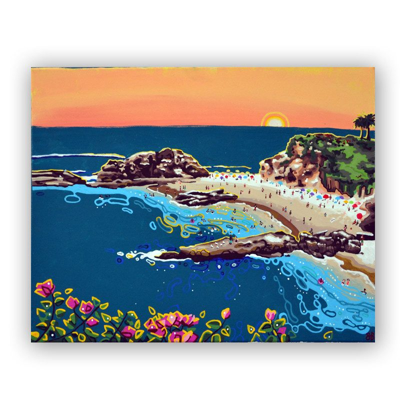 original abstract painting of people at the a cove enjoying a beautiful sunset called treasure cove by artist Sienna Brown