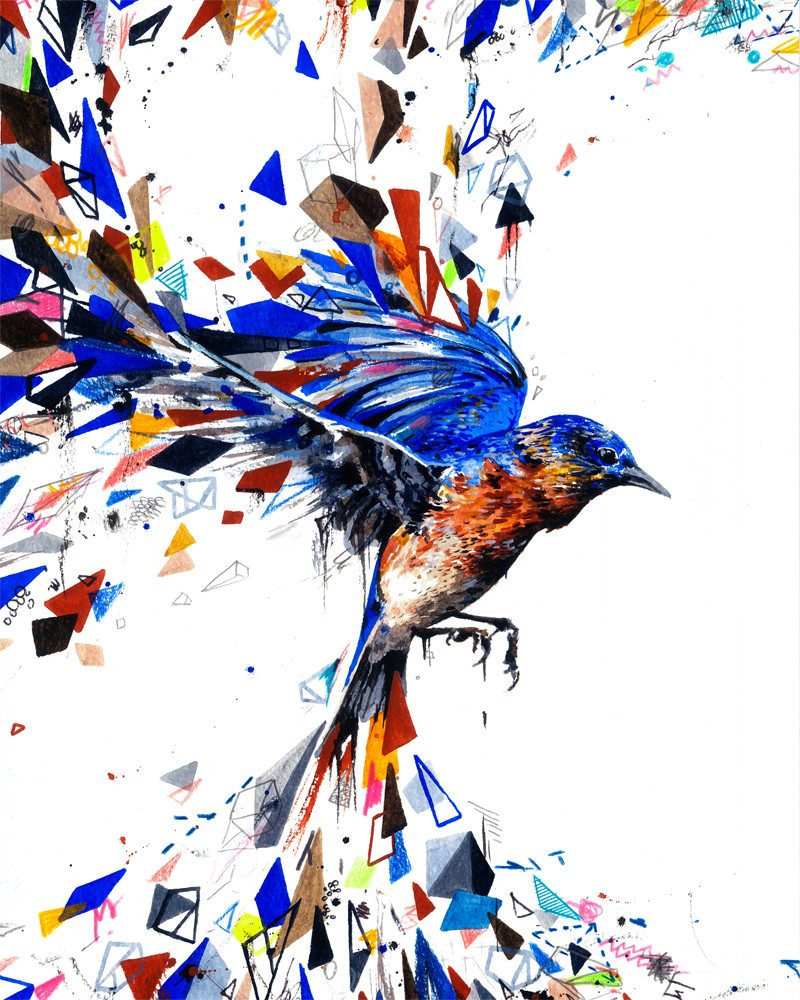 abstract painting of a blue bird with different shapes and colors coming out of the wings in a complete white background called blue bird by artist HARRY WOODGATE