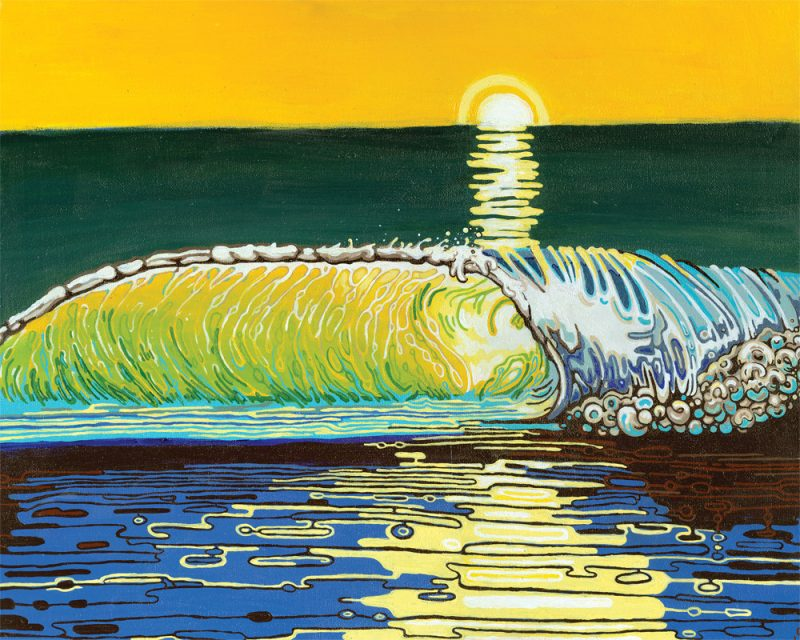 original painting of the sunset reflecting into a rolling wave called golden hour by artist Sienna Browne