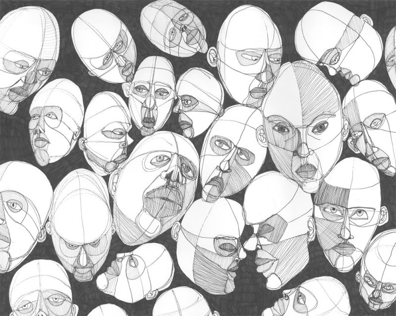 original abstract drawing of faces with different expressions called faces by artist Christina Sharp