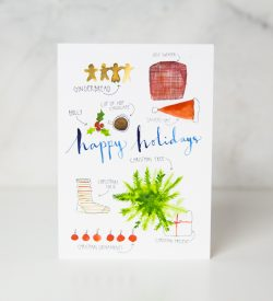 Christmas greeting card with gingerbread, santa hat, christmas present, christmas ornaments, christmas sock and christmas sweater by wunderkid Lovisa Axellie