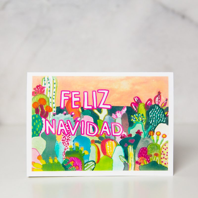 Feliz Navidad greeting card with colorful cactus drawings by wunderkid artistIda Patton