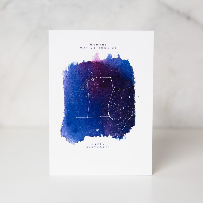 birthday greeting card with astrological sign for Gemini people by artist Lauren Suh