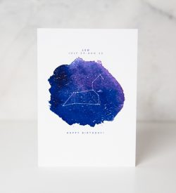 birthday greeting card with astrological sign for Leo people by artist Lauren Suh