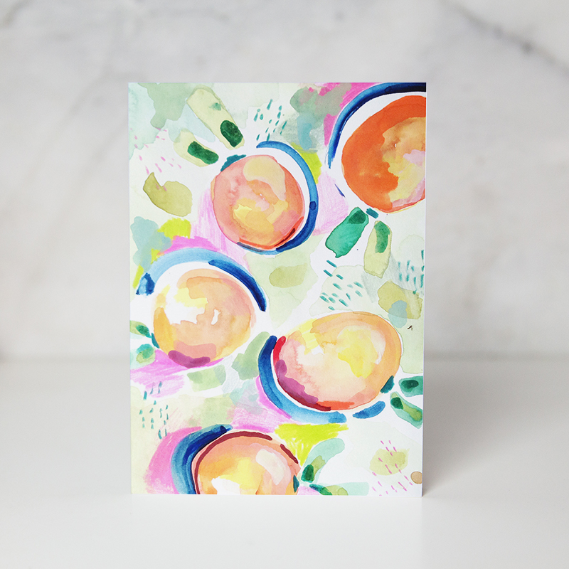 greeting card with drawn peaches called peachy keen by wunderkid artist Ida Patton