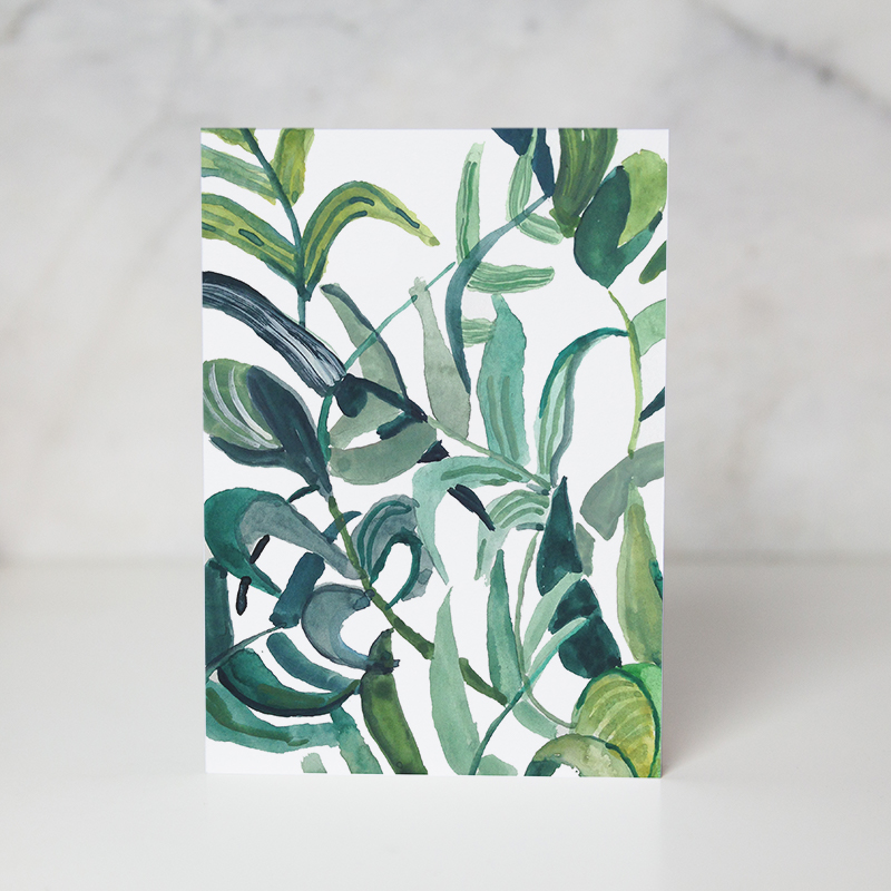 Just because greeting card of a foliage in a couple white background called foliage by artist Ida Patton