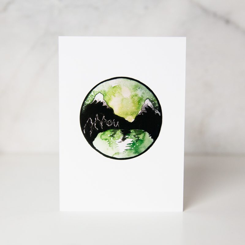 greeting card of drawn northern lights in a complete white background called northern lights by artist Ania Tomzynska