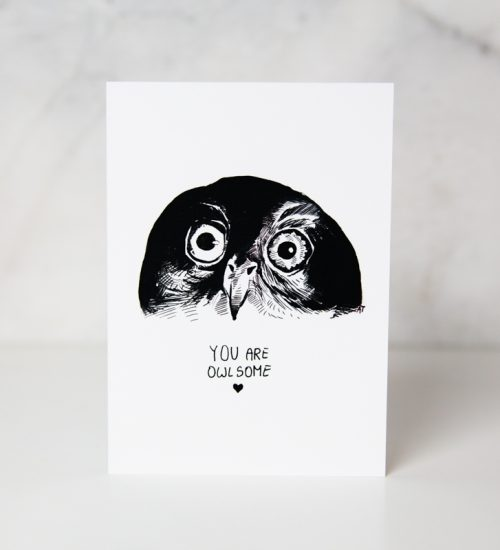 Sympathy greeting cards of an black and white drawn owl face with the you are owlsome wording underneath in a complete whit background