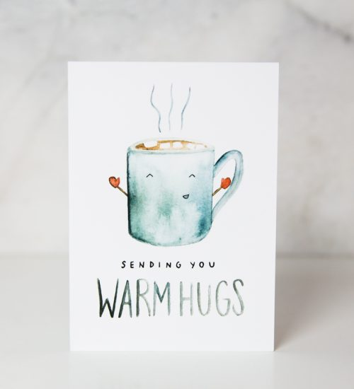 sympathy card of a drawn smiling and open arms cup of coffee with the Sending you warm hugs wording in a complete white background called warm hugs by artist Sarah Brown