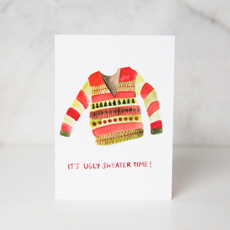 christmas card of a drawn red and green striped sweater with the It's ugly sweater time! wording underneath in a couple white background called ugly sweater by artist Sarah Brown