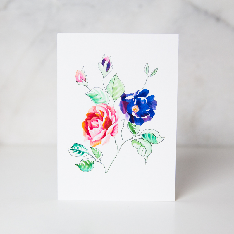 sympathy card of drawn blue and pink colored flowers in a complete white background called flowers for you by artist Theodora Nguyen