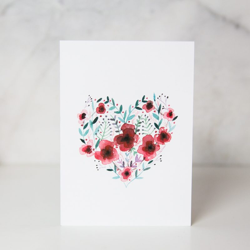 love card of a flower heart shape in a complete white background called heartsy by artist Lucia De Marco